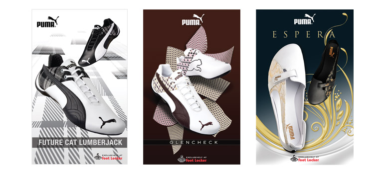 Client: PumaProject: National Ad CampaignDescription: National in-store Footlocker campaign for the launch of Glencheck, Future Cat & Espera.