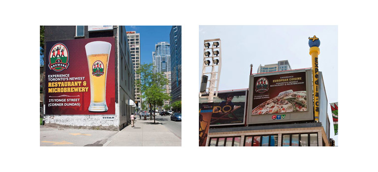 Client: The 3 BrewersProject: Billboard campaignDescription: Outdoor mediacampaign for the grand opening of the first 3 Brewers restaurant in Toronto, Ontario Canada.
